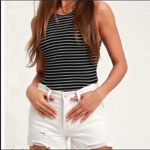 Free People Sofia White Distressed Denim Shorts